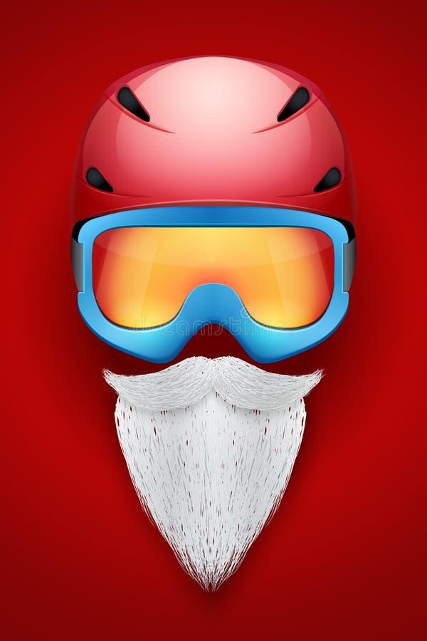 Santa Claus-Symbol mit Sturzhelmen und Schutzbrillen vektor abbildung