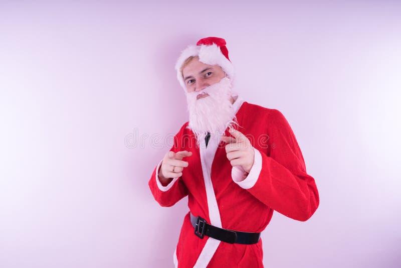 Santa claus Szczęśliwy nowy rok i Wesoło boże narodzenia! obraz stock