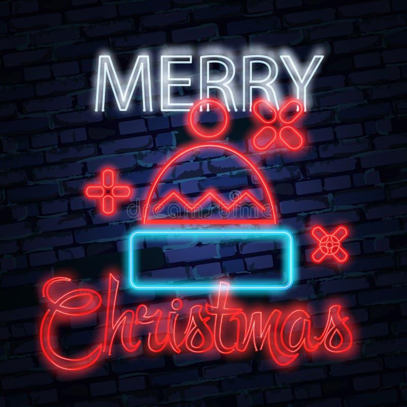 Santa Claus-teken Het teken van het neon Vrolijke Kerstmis en Nieuwjaarbanner, embleem, embleem en etiket Helder uithangbord, lic stock illustratie