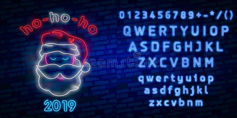 Santa Claus-teken Het teken van het neon Vrolijke Kerstmis en Nieuwjaarbanner, embleem, embleem en etiket Helder uithangbord, lic vector illustratie
