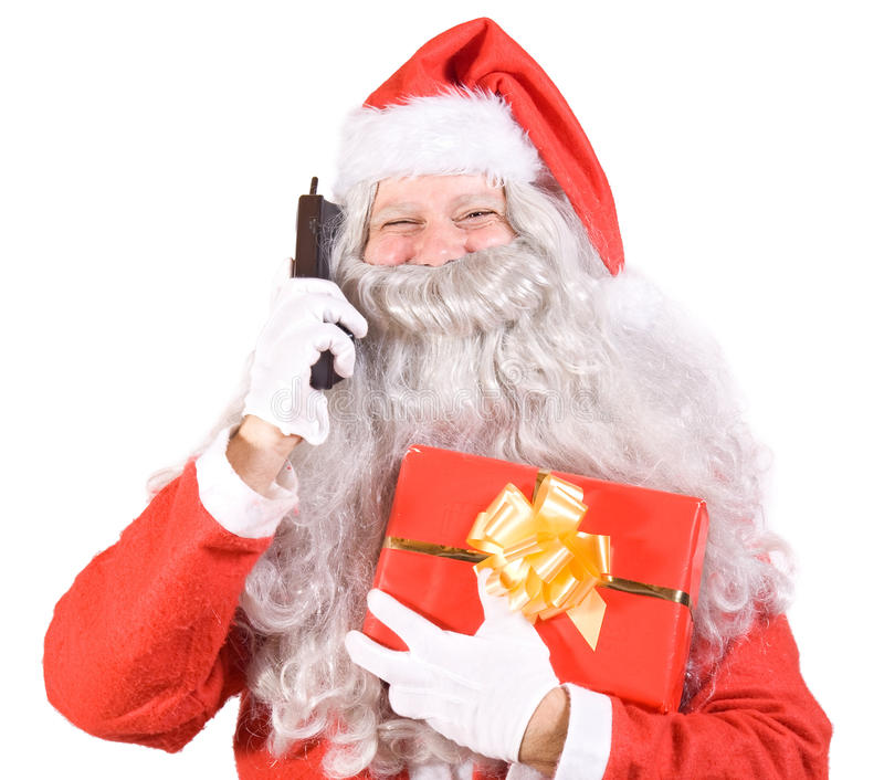 Santa Claus With Telephone Royalty Free Stock Photography