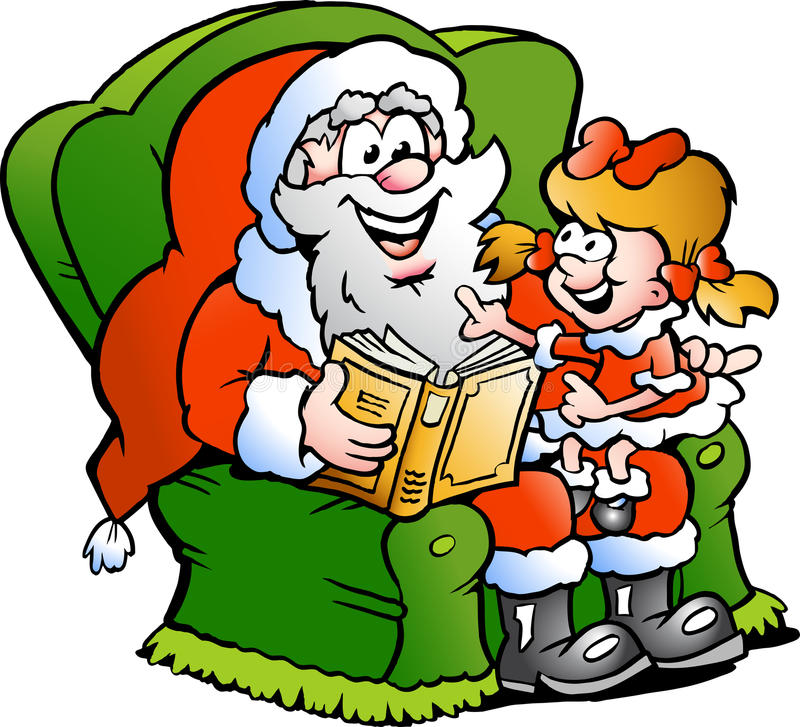 Download Santa Claus Tells A Story To An Little Girl Stock Vector - Image: 25158501