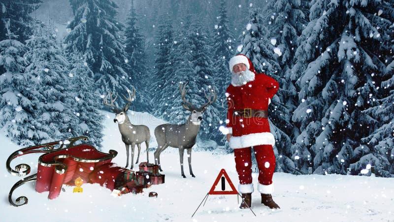 Santa Claus tenía un accidente con su trineo ilustración del vector