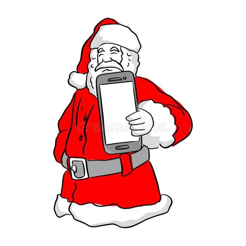 Santa Claus tenant un croquis d'illustration de vecteur de téléphone portable pour faire illustration libre de droits