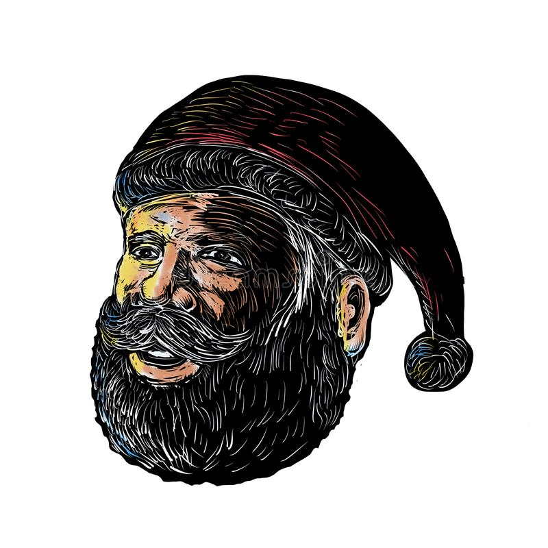 Santa Claus Three-Quarter View Scratchboard. Scratchboard style illustration of head of Santa Claus three-quarter view done on scraperboard on background royalty free illustration