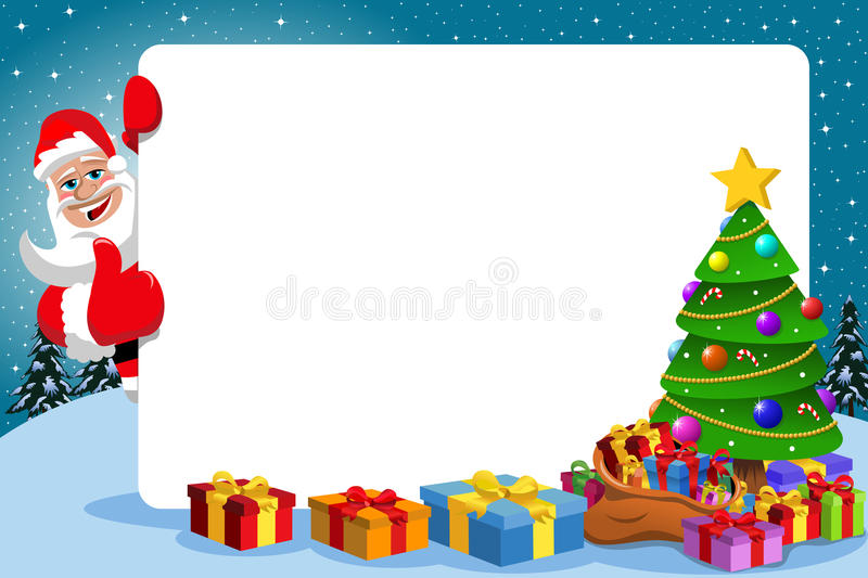 Santa Claus Thumb Up Frame Xmas-Boom stock illustratie