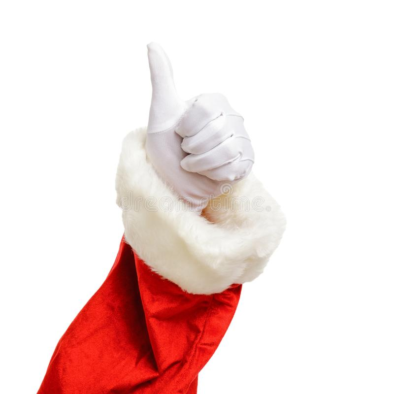 Santa Claus thumb up isolated on white background. Christmas concept stock photo
