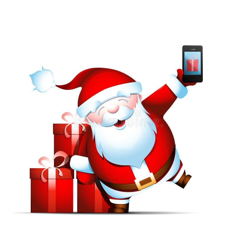 Santa Claus tient le smartphone illustration de vecteur