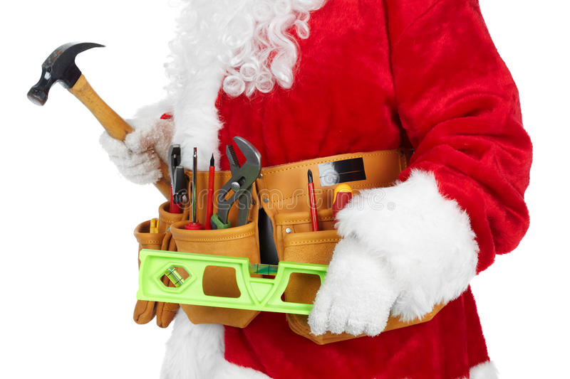 Santa Claus with a tool belt. royalty free stock photo