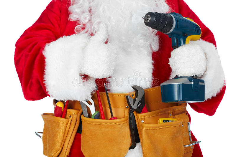 Santa Claus with a tool belt. stock image