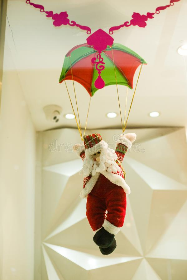 Santa Claus in the parachute stock image
