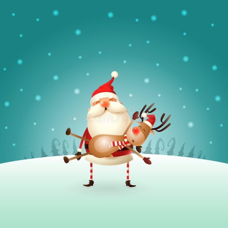 Santa Claus trägt ein Ren auf seinen Händen - Winterlandschaft - Weihnachtskarte stock abbildung