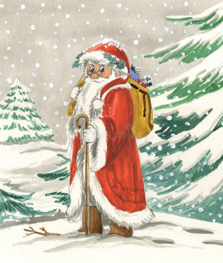 Santa Claus tradicional com saco imagens de stock royalty free