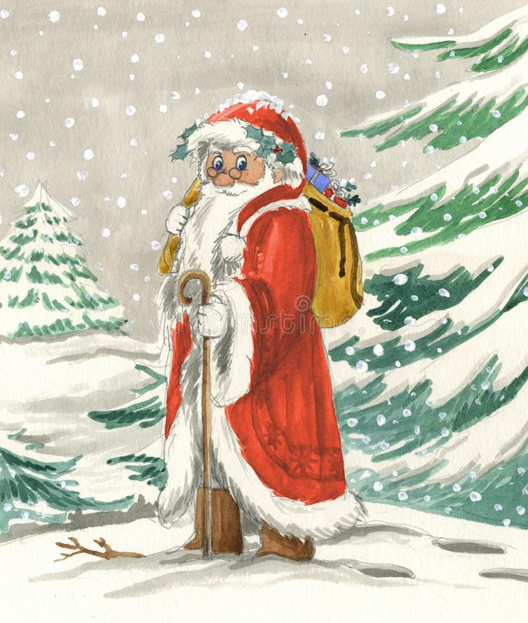 Santa Claus tradicional con el saco imágenes de archivo libres de regalías