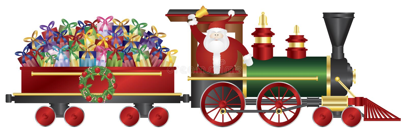 Santa Claus on Train Delivering Presents Illustrat. Santa Claus Ringing Bell on Train Delivering Wrapped Presents Isolated on White Background Illustration vector illustration