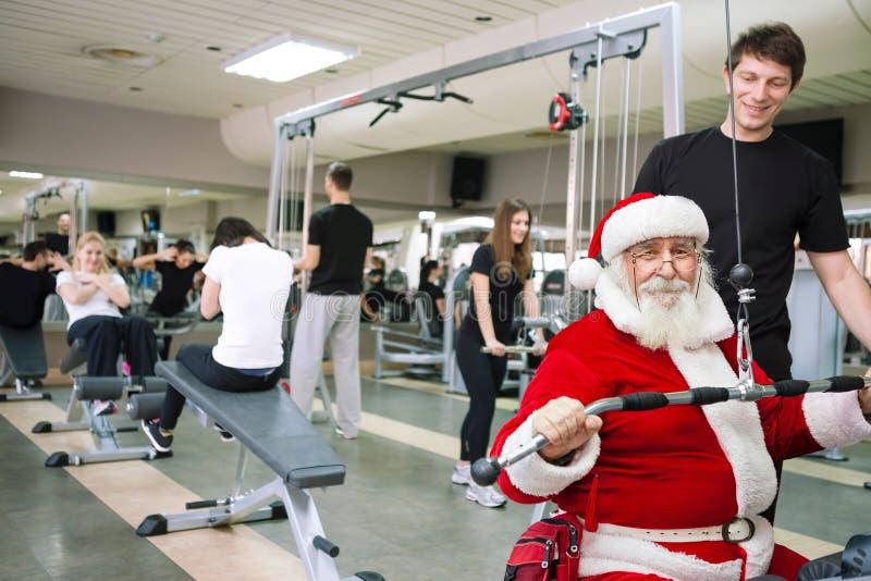 Santa Claus-Trainieren lizenzfreie stockfotografie
