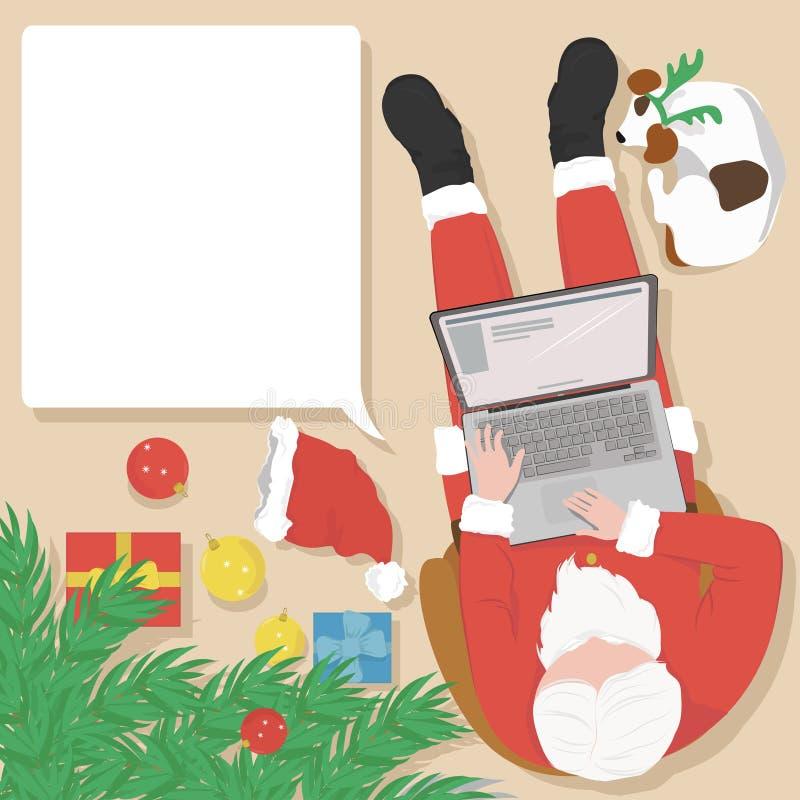 Santa Claus travaillant sur l'ordinateur portable à la maison près de l'arbre de Noël illustration stock