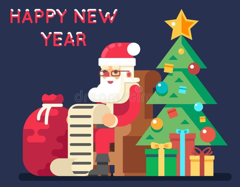Santa Claus Tree Bell Gifts List-Weihnachtsneues Jahr-Ikonen-flache Design-Gruß-Karten-Vektor-Illustration stock abbildung