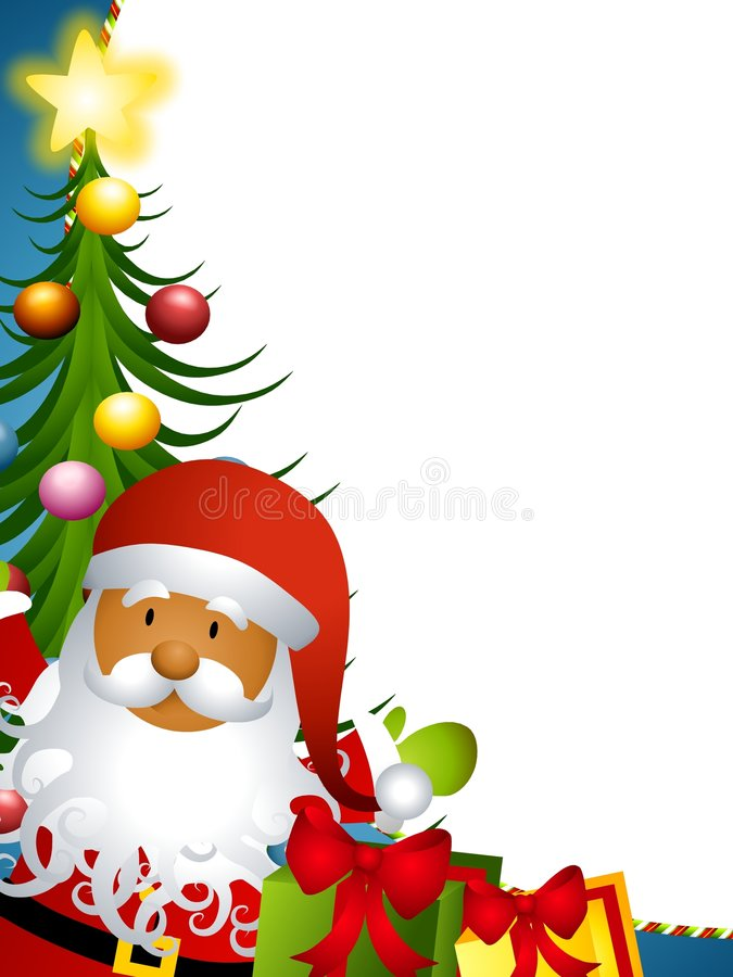 Santa Claus Tree Border. A background illustration featuring Santa Claus with tree and gifts ideal as a border