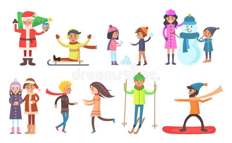 Santa Claus and People Set Vector Illustration stock illustration