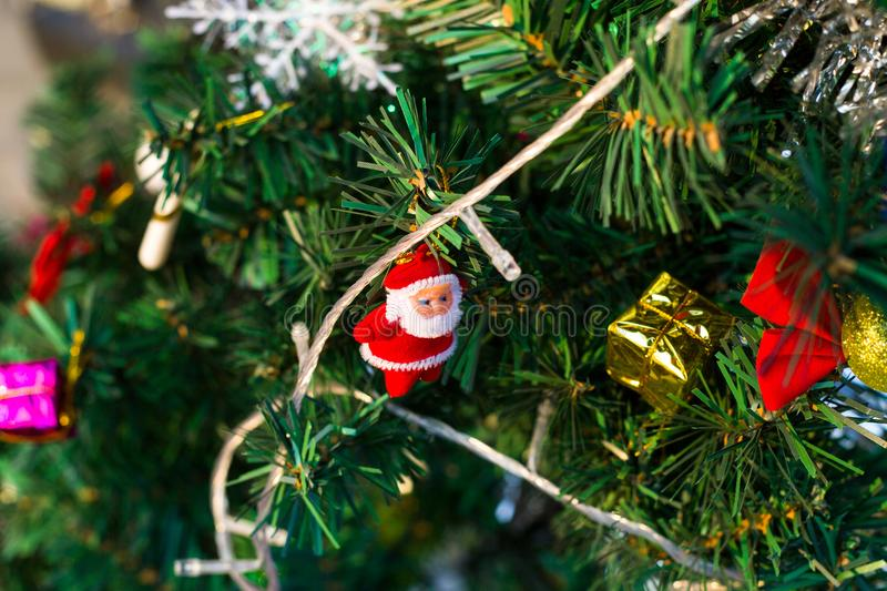 Santa Claus in a tree stock images