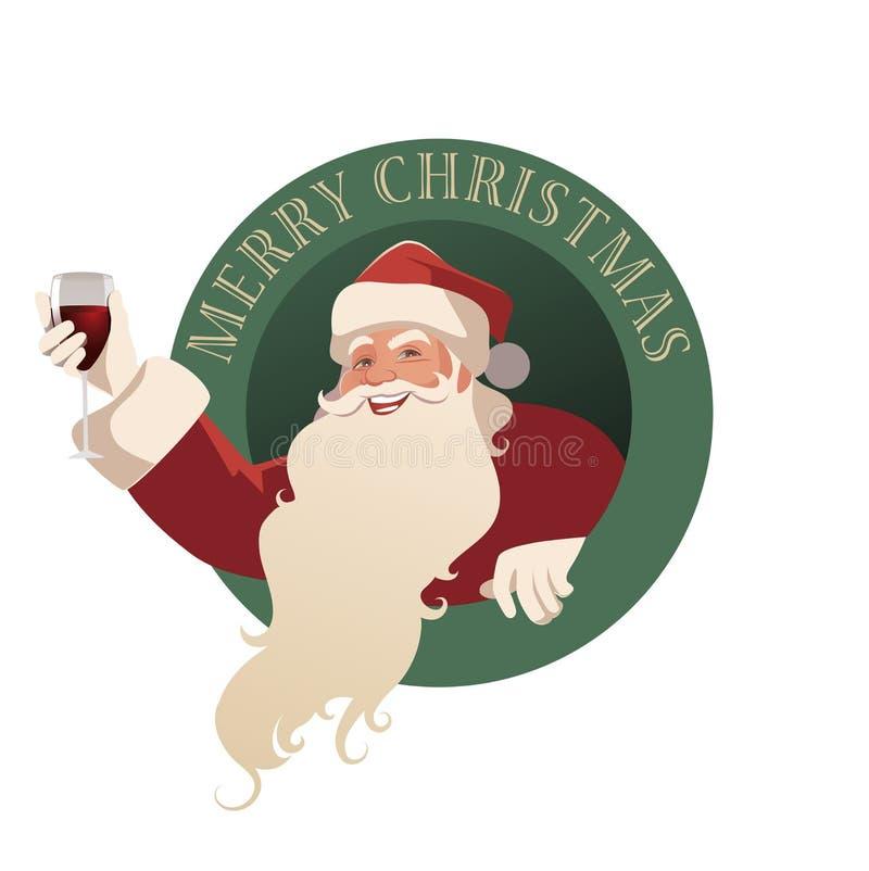Santa Claus trzyma szkło wino ilustracja wektor