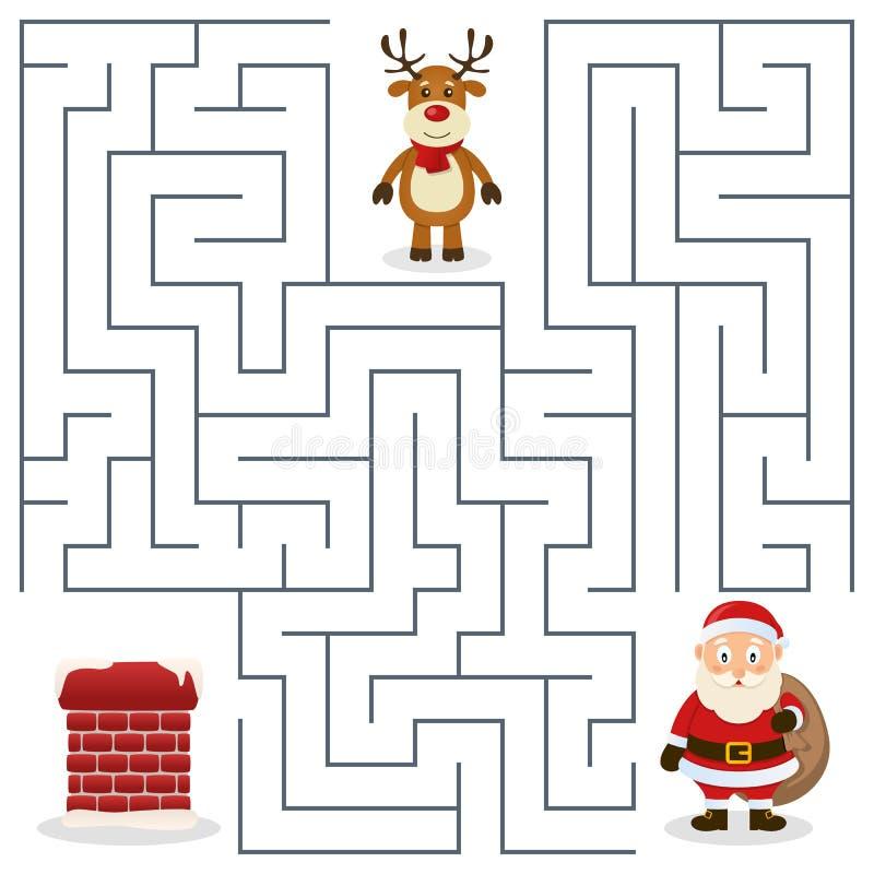 Santa Claus- u. Kamin-Labyrinth für Kinder lizenzfreie abbildung