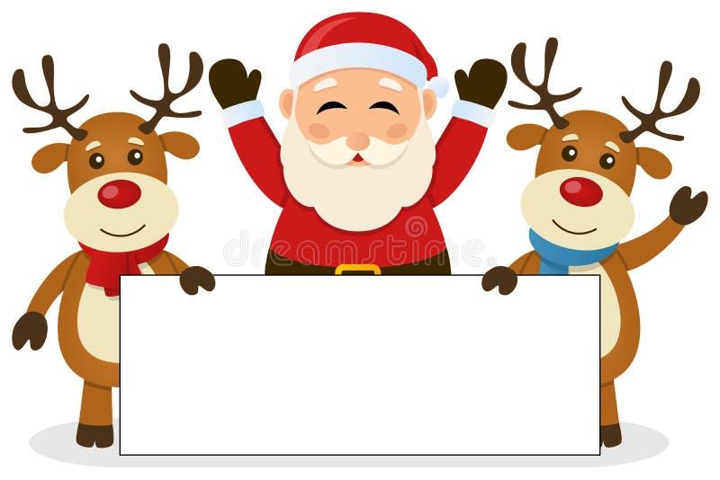 Santa Claus u. Ren mit leerer Fahne stock abbildung