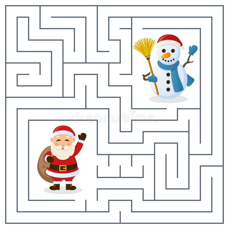 Santa Claus- u. Schneemann-Labyrinth für Kinder lizenzfreie abbildung
