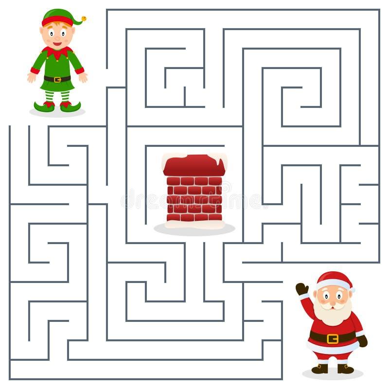 Santa Claus u. Weihnachtselfen-Labyrinth für Kinder vektor abbildung