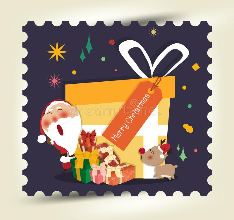 Santa Claus, una Feliz Navidad y Feliz Año Nuevo, tarjeta de felicitación feliz, Feliz Navidad, vector, elementos, tarjeta de fel stock de ilustración