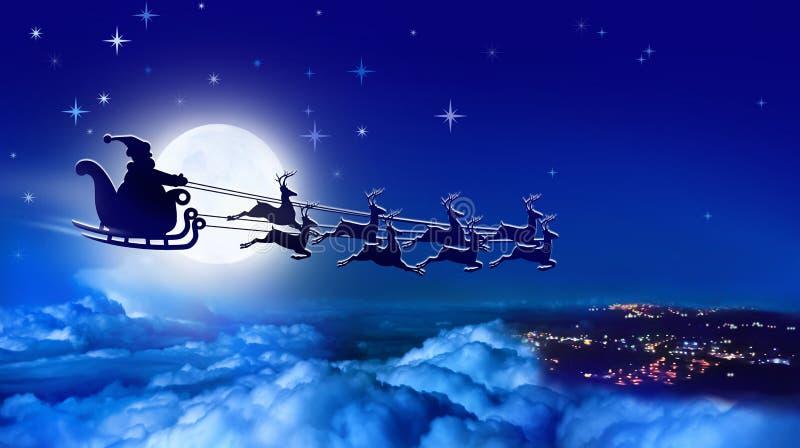 Santa Claus in una slitta della renna e della slitta sorvola la terra su fondo della luna piena royalty illustrazione gratis