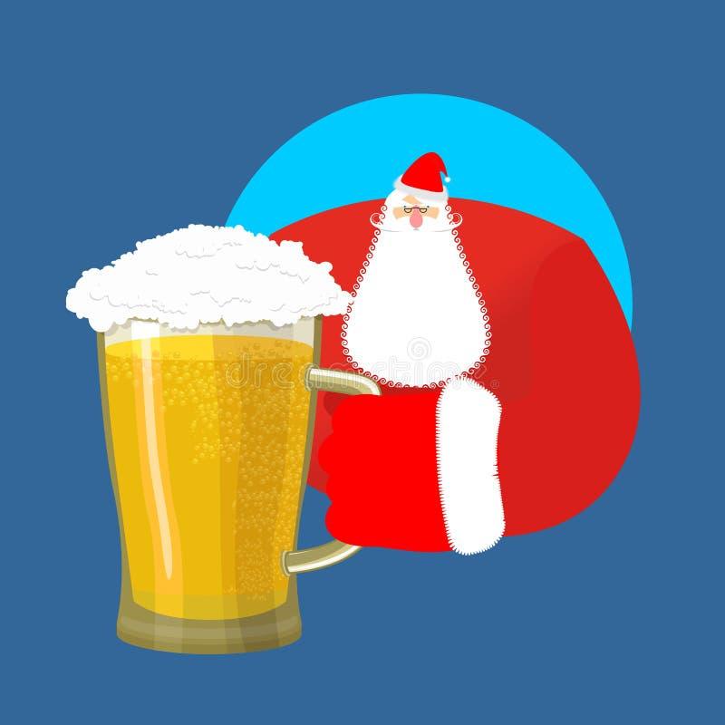 Santa Claus und Bier Weihnachtsbierkrug Alkohol des neuen Jahres vektor abbildung