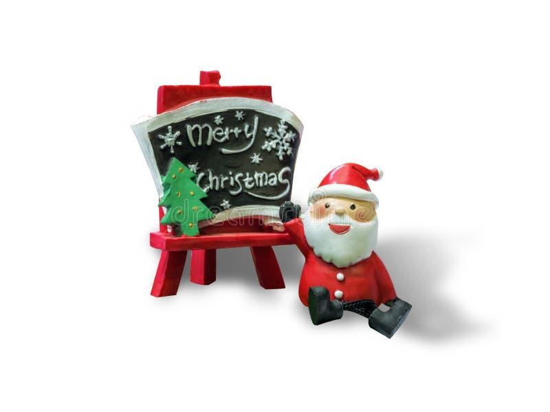 Santa Claus und ein Zeichen, das fröhlichen x-` mas sagt, lokalisierten auf weißem Hintergrund stockfotos
