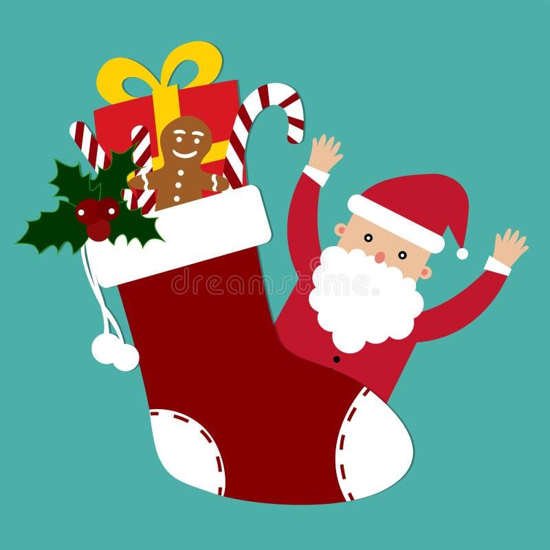 Santa Claus und nette Weihnachtssocke mit Geschenkvektor lizenzfreie abbildung