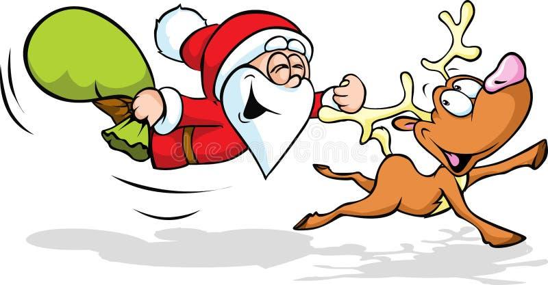 Santa Claus und Ren lizenzfreie abbildung