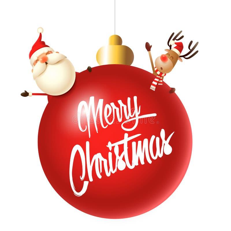 Santa Claus und Ren, die Ihnen frohe Weihnachten hinter roter Christbaumkugel wünschen lizenzfreie abbildung