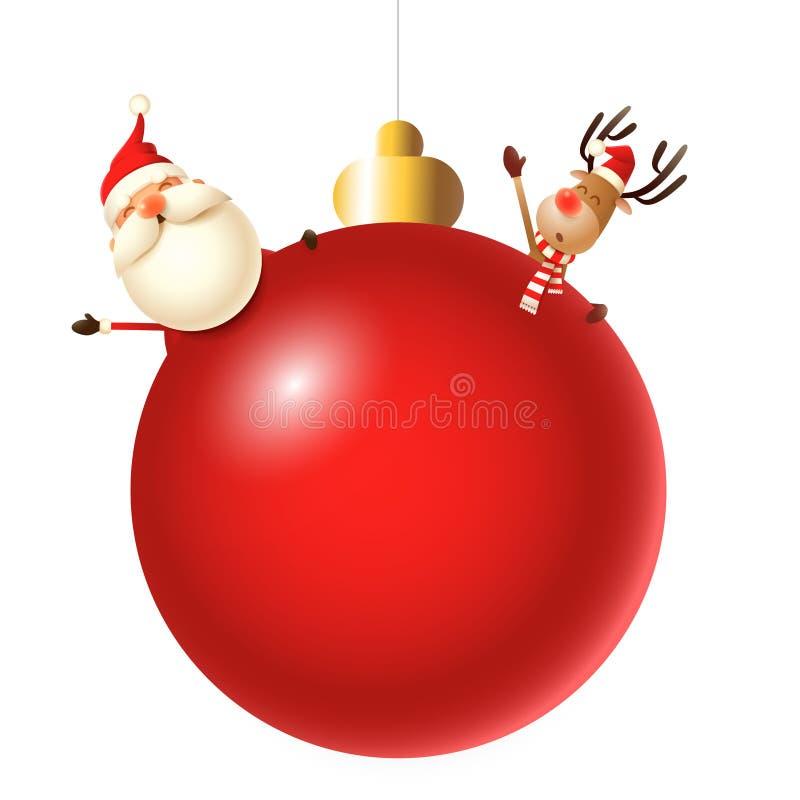 Santa Claus und Ren hinter roter Christbaumkugel lizenzfreie abbildung