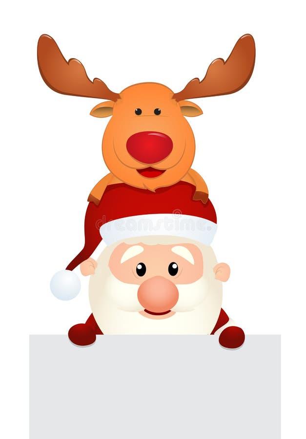 Santa Claus und Ren mit leerem Zeichen lizenzfreie abbildung