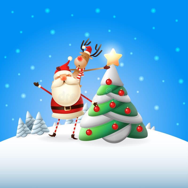 Santa Claus und Ren verzierter Weihnachtsbaum, Ren setzten Stern auf die Oberseite des Baums - blaues Winterlandschaftsplakat vektor abbildung