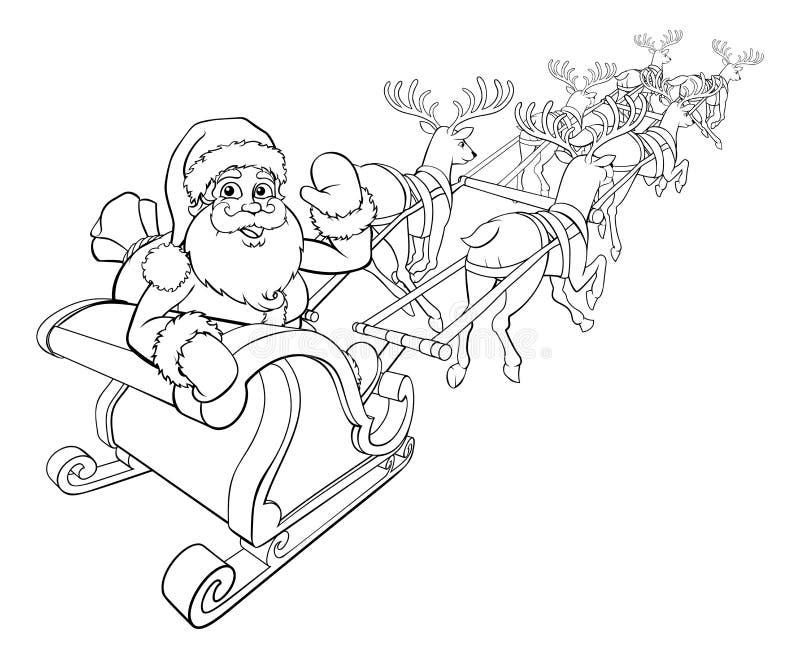 Santa Claus- und Ren-Weihnachtspferdeschlitten-Schlitten vektor abbildung
