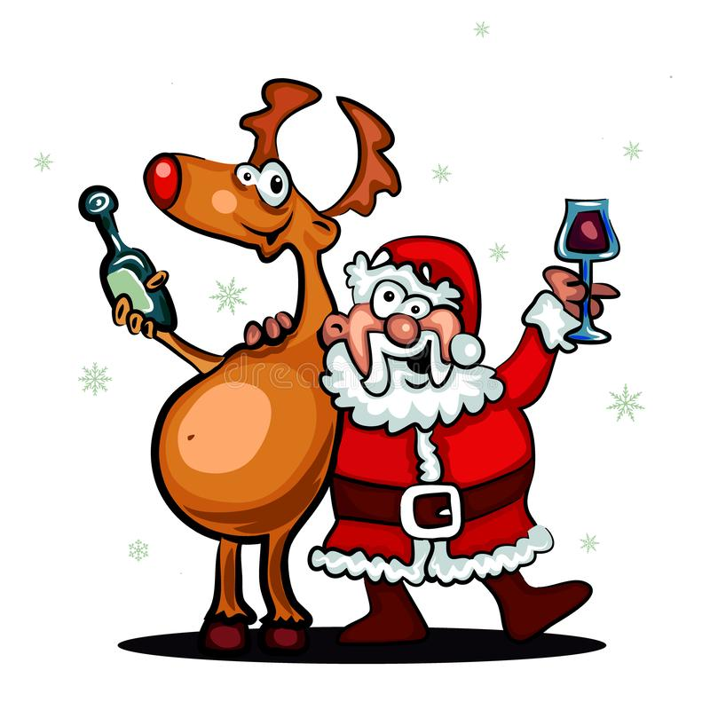 Santa Claus und Rotwild auf weißem Hintergrund Weihnachtsmann und roter Ball Nette Karte der Winterkarikatur, Fahne der frohen We stock abbildung