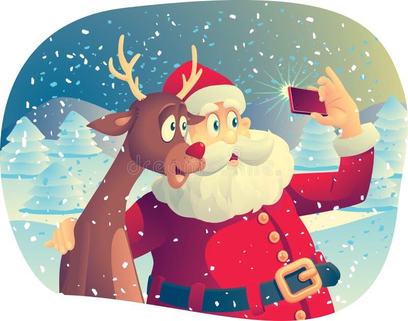 Santa Claus und Rudolph Taking ein Foto zusammen stock abbildung