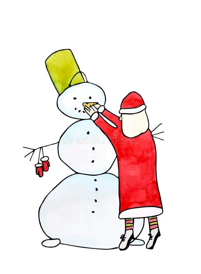 Santa Claus und Schneemann - Vektoraquarellmalerei stockfotografie