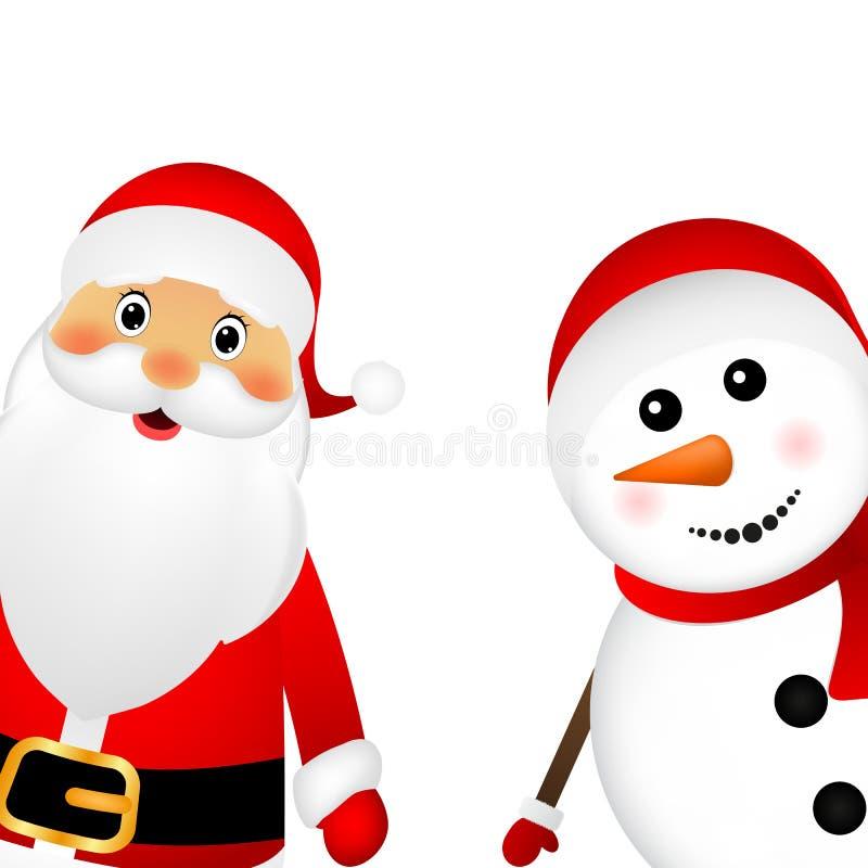 Santa Claus- und Weihnachtsschneemann vektor abbildung