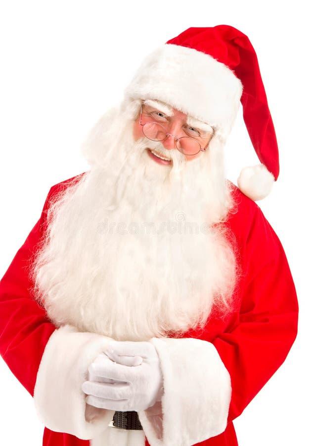 Santa Claus a une grande belle barbe sur le fond blanc image stock