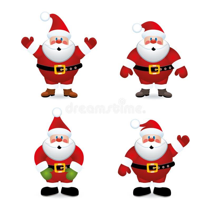 Santa Claus uppsättning stock illustrationer