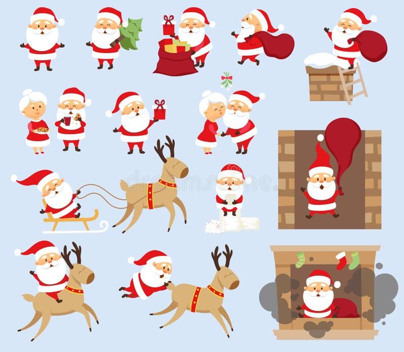 Santa Claus uppsättning royaltyfri illustrationer