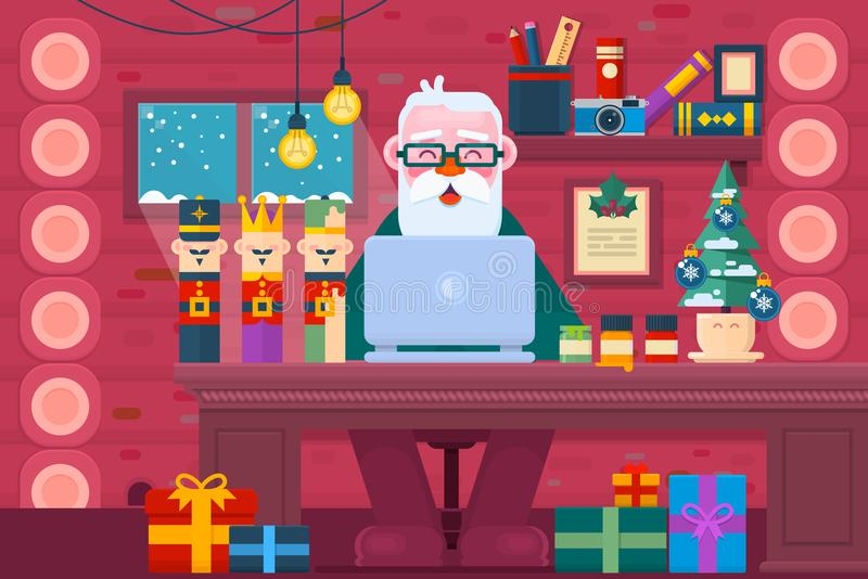 Santa Claus using a laptop.Christmas Greeting Card Design. Work space interior.Flat vector illustration royalty free illustration