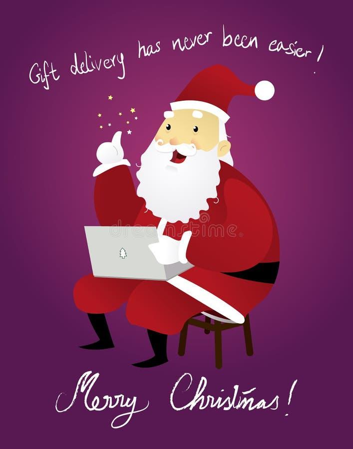 Funny Santa using Laptop_Christmas royalty free illustration